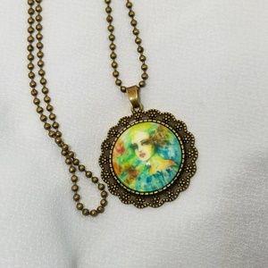 Jewelry - ☆ Bronze Watercolor Art Necklace
